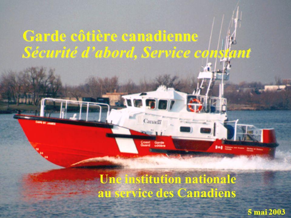 Garde côtière canadienne Sécurité dabord, Service constant Une institution nationale au service des Canadiens 5 mai 2003
