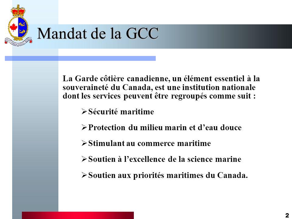 2 Mandat de la GCC La Garde côtière canadienne, un élément essentiel à la souveraineté du Canada, est une institution nationale dont les services peuvent être regroupés comme suit : Sécurité maritime Protection du milieu marin et deau douce Stimulant au commerce maritime Soutien à lexcellence de la science marine Soutien aux priorités maritimes du Canada.