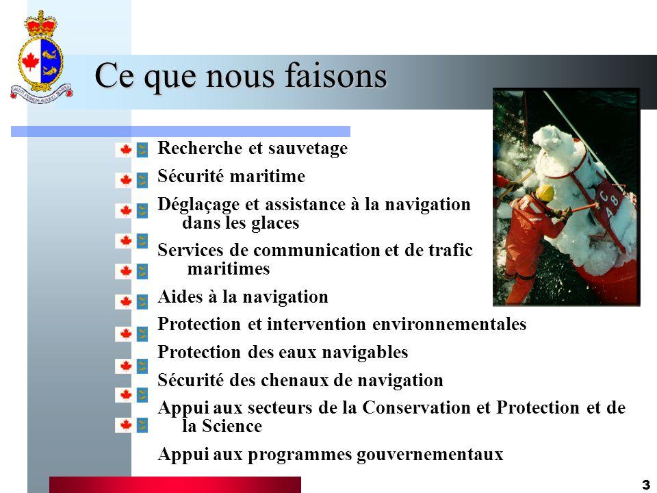 3 Ce que nous faisons Recherche et sauvetage Sécurité maritime Déglaçage et assistance à la navigation dans les glaces Services de communication et de