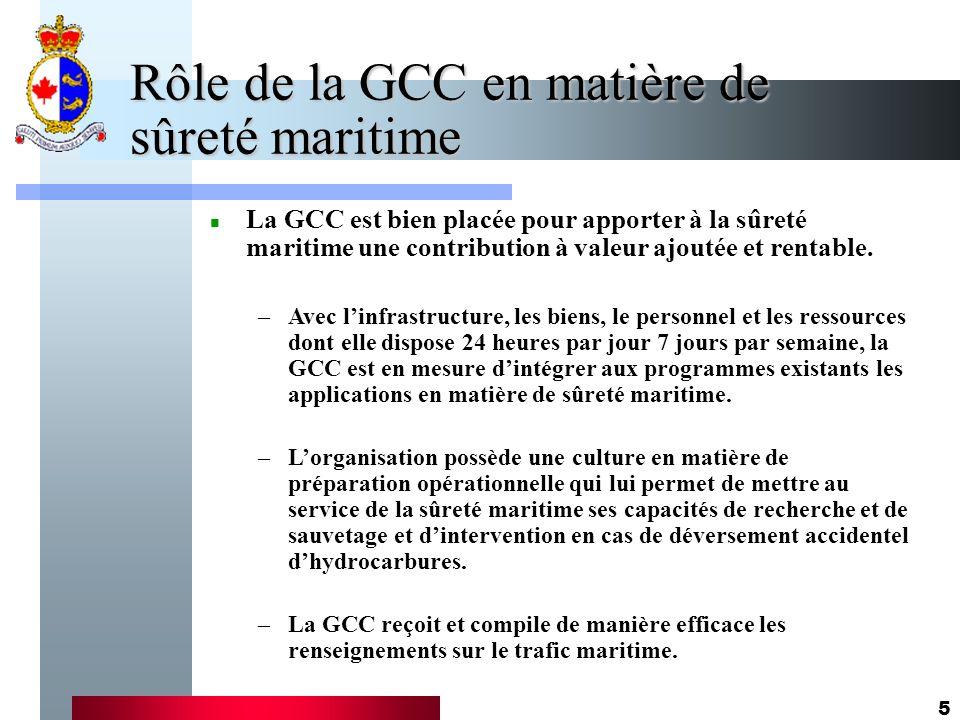6 Activités de la GCC en matière de sûreté maritime –Les SCTM reçoivent des préavis 96 heures et 24 heures avant lentrée de navires dans les eaux canadiennes et ils doivent avertir lagence compétente quand un navire figurant sur la liste des Navires dintérêt particulier demande lautorisation exigée.