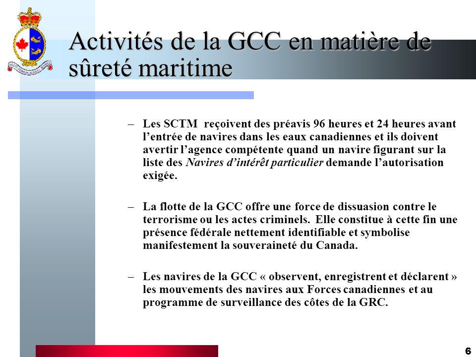 6 Activités de la GCC en matière de sûreté maritime –Les SCTM reçoivent des préavis 96 heures et 24 heures avant lentrée de navires dans les eaux cana