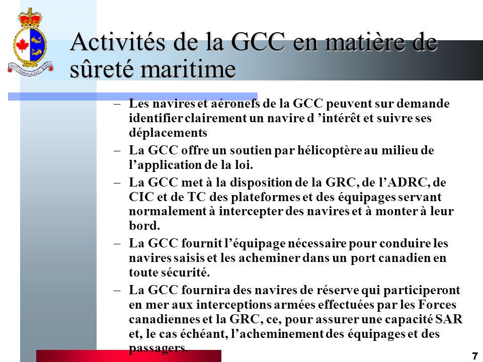 7 Activités de la GCC en matière de sûreté maritime –Les navires et aéronefs de la GCC peuvent sur demande identifier clairement un navire d intérêt et suivre ses déplacements –La GCC offre un soutien par hélicoptère au milieu de lapplication de la loi.