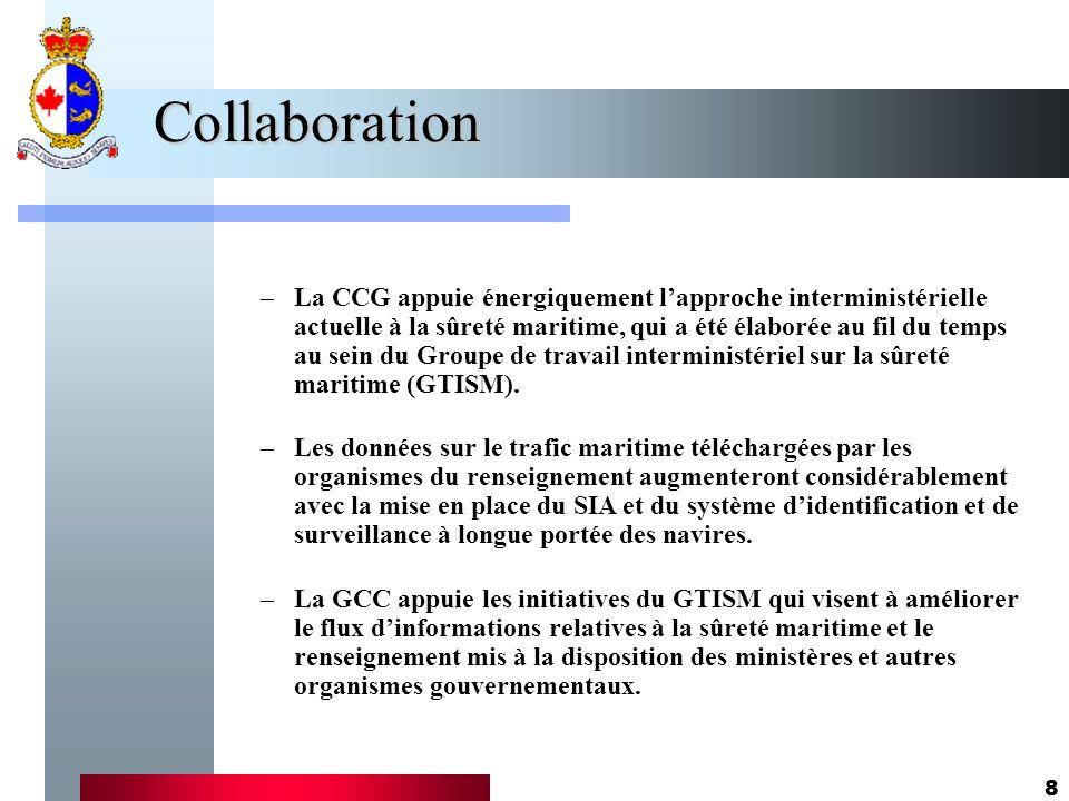 8 Collaboration –La CCG appuie énergiquement lapproche interministérielle actuelle à la sûreté maritime, qui a été élaborée au fil du temps au sein du