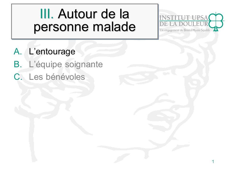 1 III. Autour de la personne malade A.Lentourage B.Léquipe soignante C.Les bénévoles