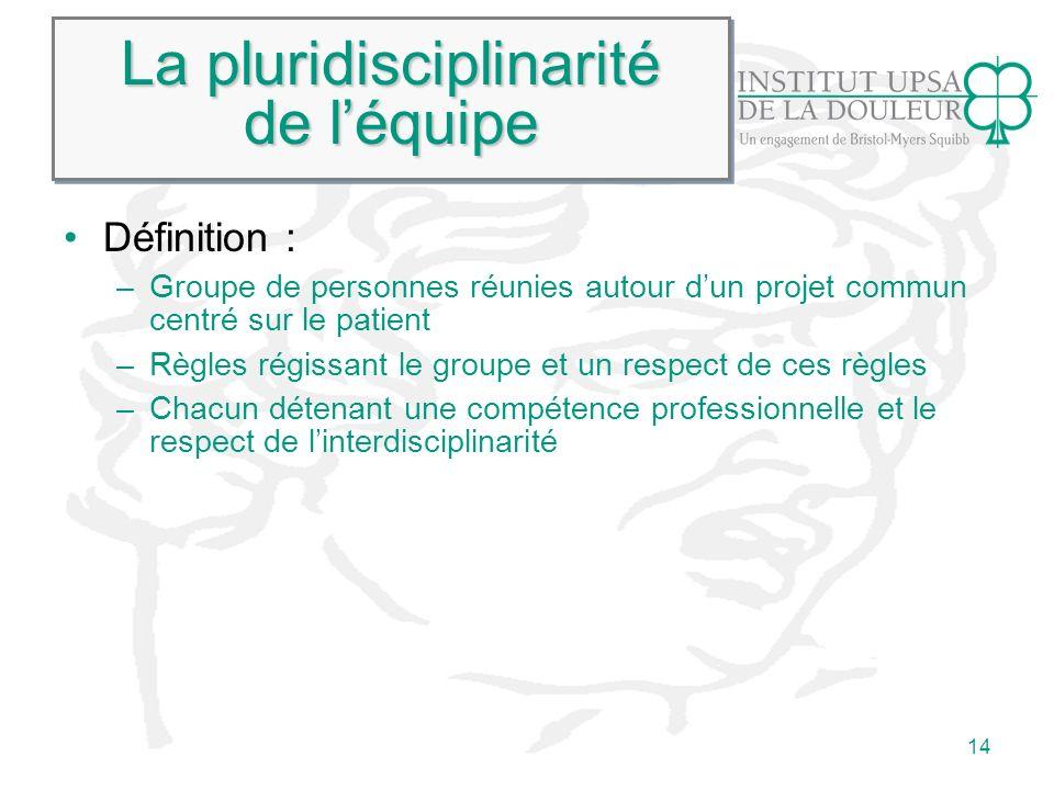 14 La pluridisciplinarité de léquipe Définition : –Groupe de personnes réunies autour dun projet commun centré sur le patient –Règles régissant le gro