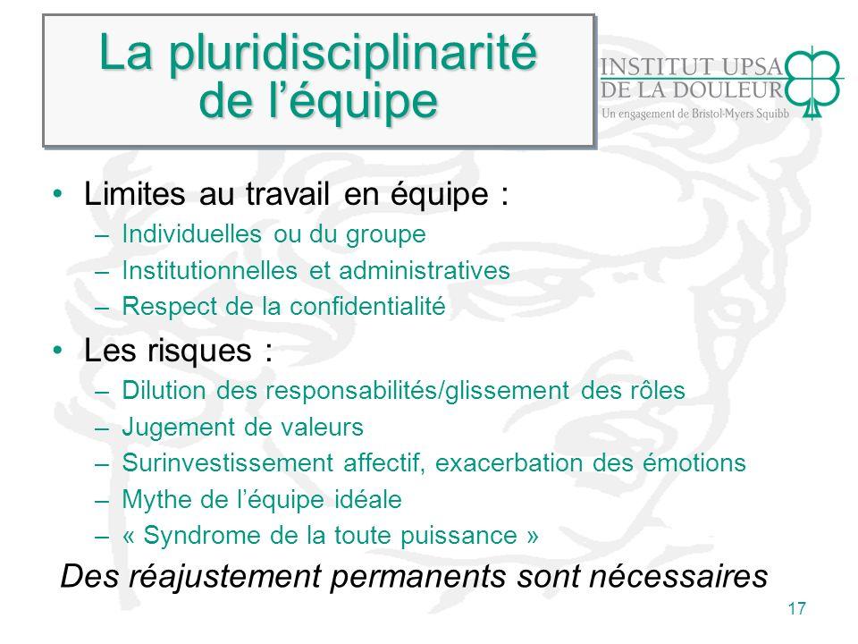 17 La pluridisciplinarité de léquipe Limites au travail en équipe : –Individuelles ou du groupe –Institutionnelles et administratives –Respect de la c
