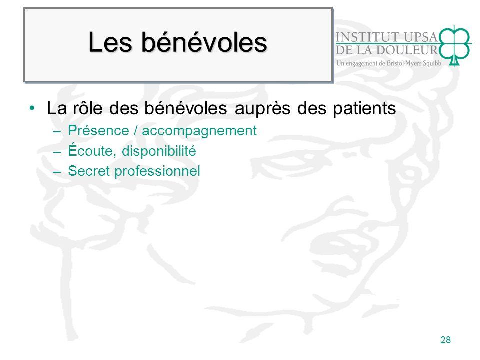28 Les bénévoles La rôle des bénévoles auprès des patients –Présence / accompagnement –Écoute, disponibilité –Secret professionnel