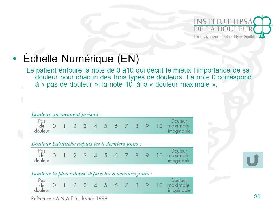 30 Échelle Numérique (EN) Le patient entoure la note de 0 à10 qui décrit le mieux limportance de sa douleur pour chacun des trois types de douleurs. L