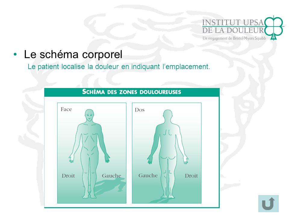 32 Le schéma corporel Le patient localise la douleur en indiquant lemplacement.