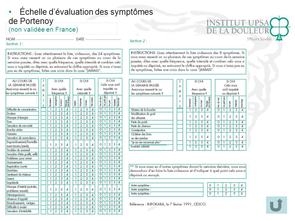 40 Échelle dévaluation des symptômes de Portenoy (non validée en France)