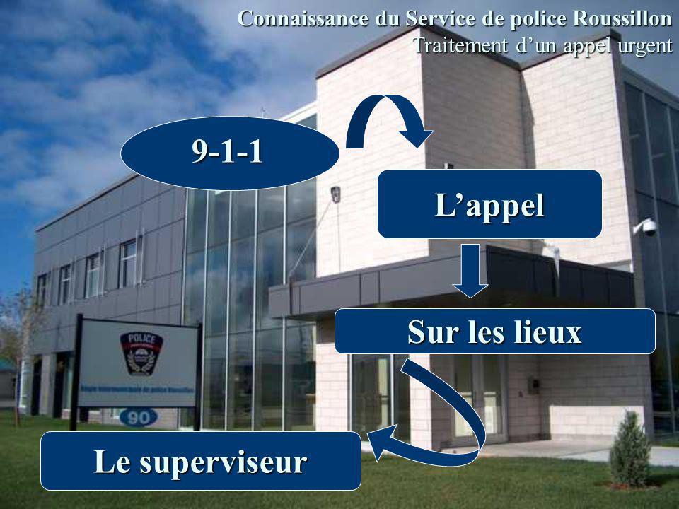 Lappel 9-1-1 Sur les lieux Le superviseur Connaissance du Service de police Roussillon Traitement dun appel urgent