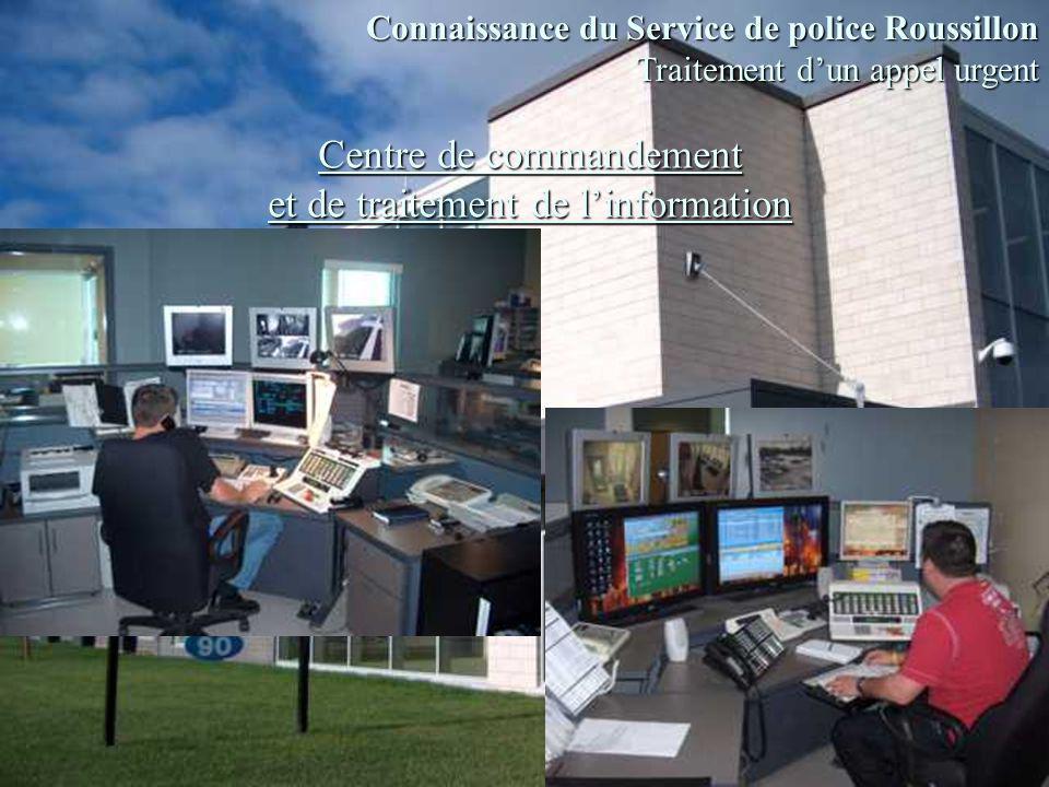 Centre de commandement et de traitement de linformation Connaissance du Service de police Roussillon Traitement dun appel urgent