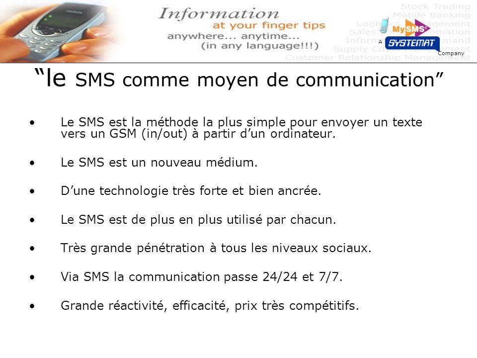 Company A le SMS comme moyen de communication Le SMS est la méthode la plus simple pour envoyer un texte vers un GSM (in/out) à partir dun ordinateur.