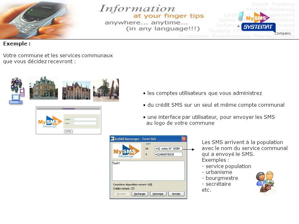 Company A Votre commune et les services communaux que vous décidez recevront : les comptes utilisateurs que vous administrez du crédit SMS sur un seul