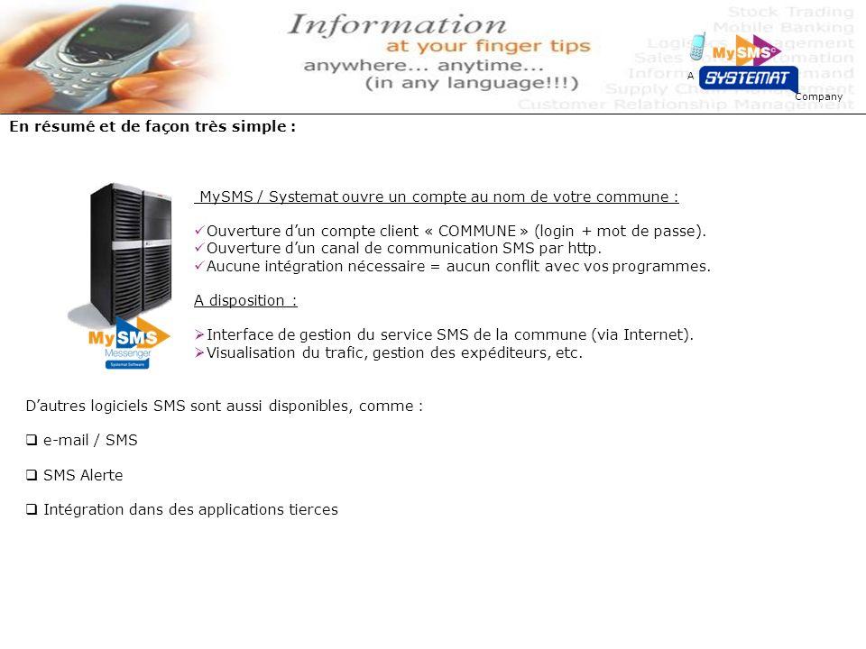 Company A Pratiquement MySMS / Systemat ouvre un compte au nom de votre commune : Ouverture dun compte client « COMMUNE » (login + mot de passe).