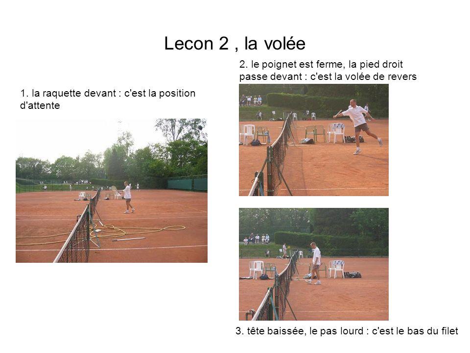 Lecon 2, la volée 1. la raquette devant : c'est la position d'attente 2. le poignet est ferme, la pied droit passe devant : c'est la volée de revers 3