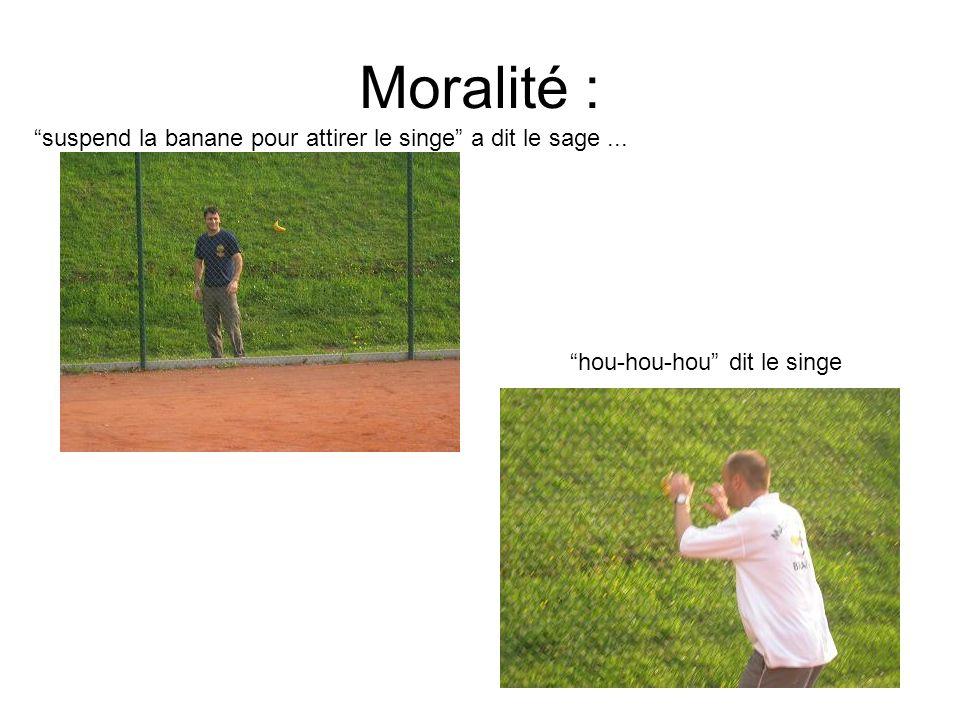 Moralité : suspend la banane pour attirer le singe a dit le sage... hou-hou-hou dit le singe