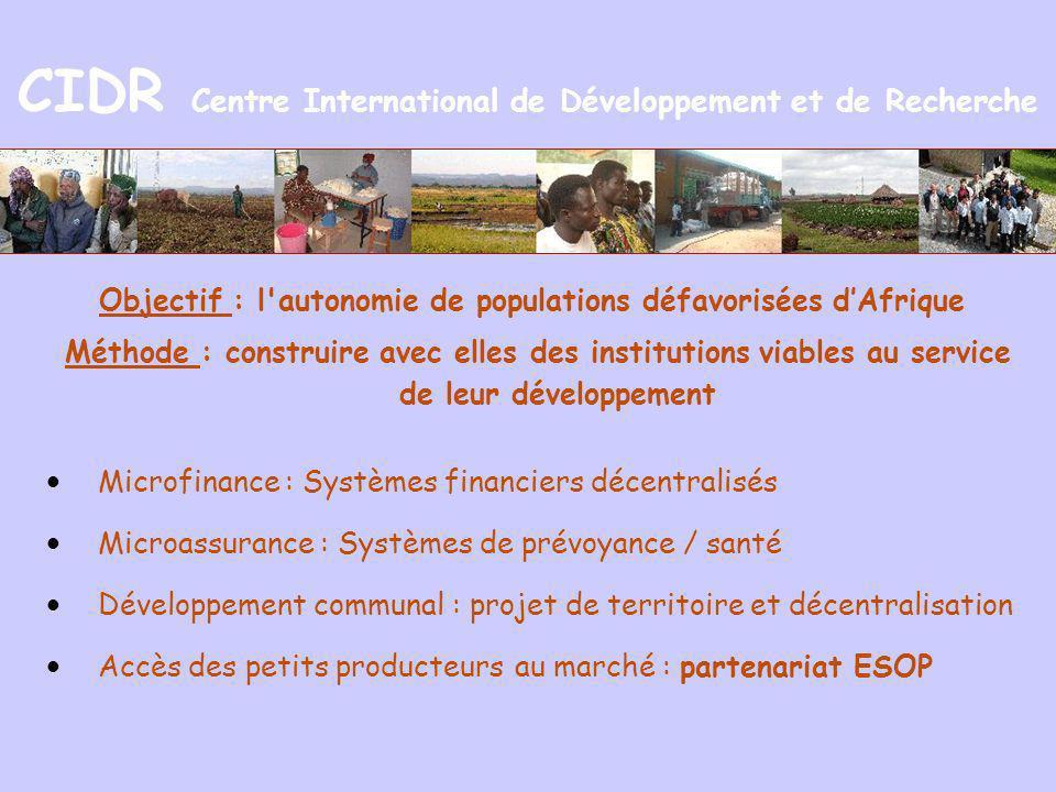 CIDR Centre International de Développement et de Recherche Objectif : l'autonomie de populations défavorisées dAfrique Méthode : construire avec elles
