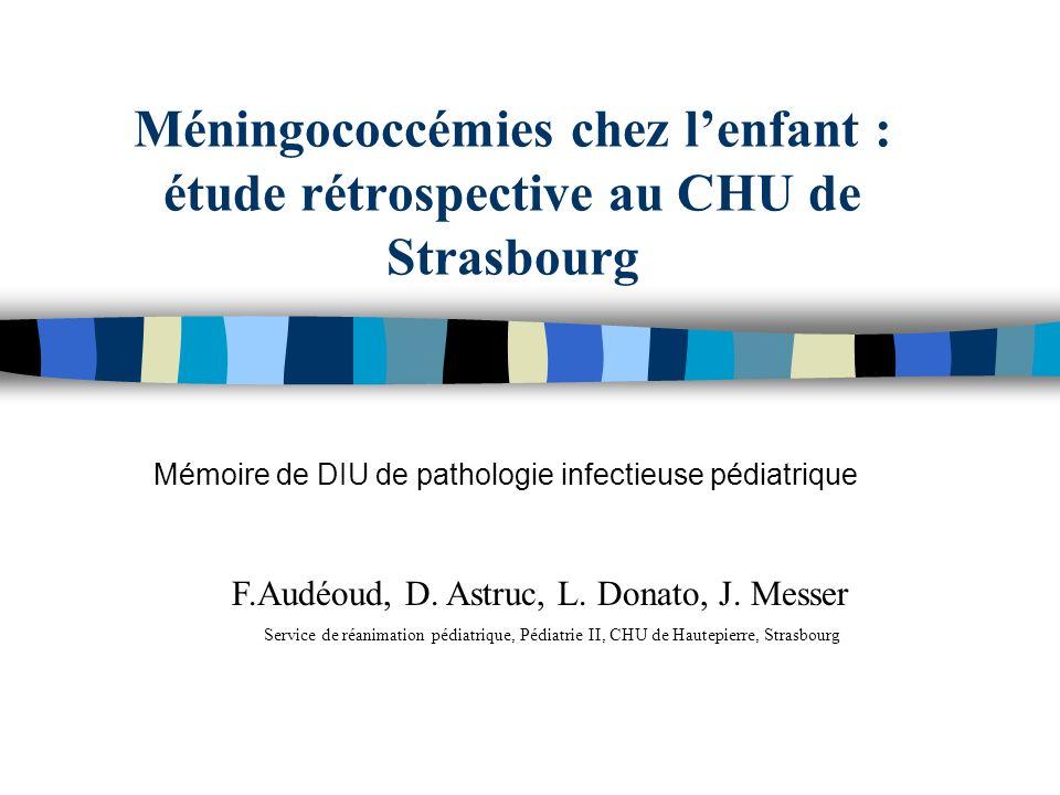 Méningococcémies chez lenfant : étude rétrospective au CHU de Strasbourg Mémoire de DIU de pathologie infectieuse pédiatrique F.Audéoud, D. Astruc, L.