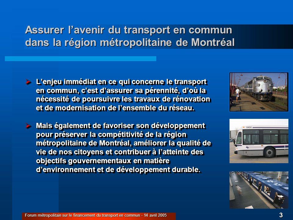 3 Forum métropolitain sur le financement du transport en commun - 14 avril 2005 Assurer lavenir du transport en commun dans la région métropolitaine d