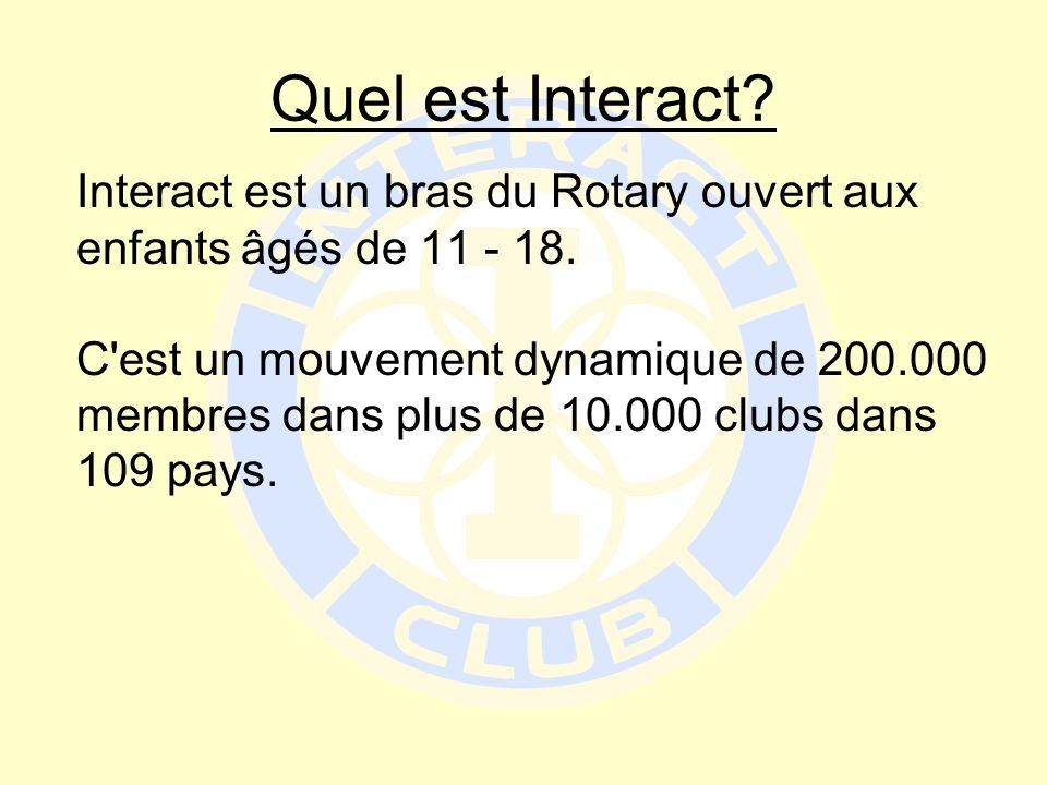 Quel est Interact? Interact est un bras du Rotary ouvert aux enfants âgés de 11 - 18. C'est un mouvement dynamique de 200.000 membres dans plus de 10.