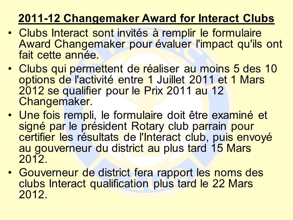 2011-12 Changemaker Award for Interact Clubs Clubs Interact sont invités à remplir le formulaire Award Changemaker pour évaluer l'impact qu'ils ont fa