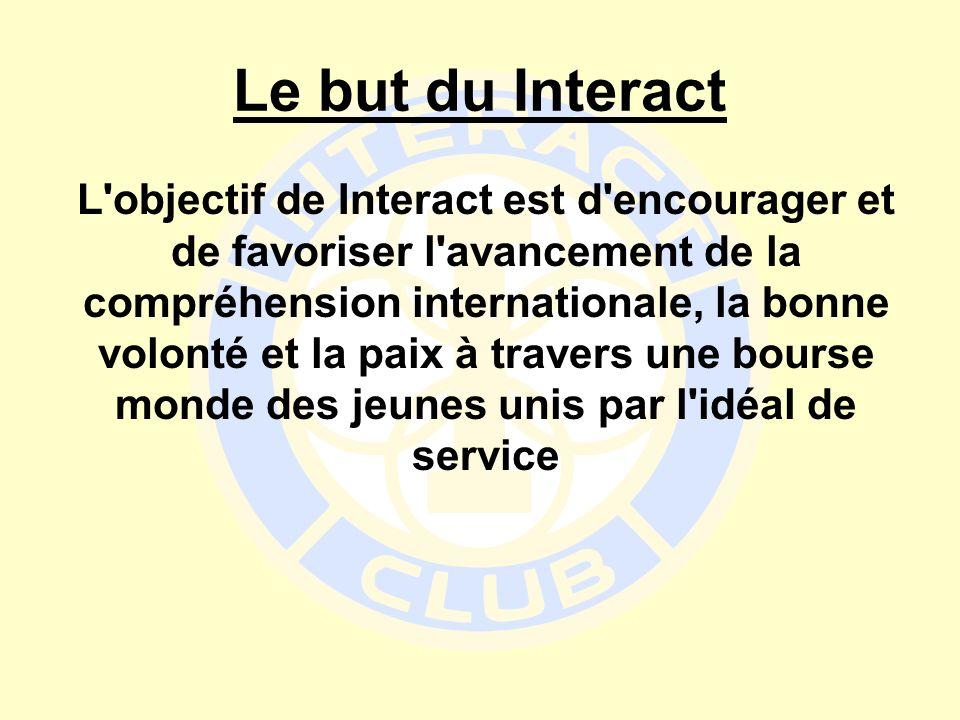 Le but du Interact L'objectif de Interact est d'encourager et de favoriser l'avancement de la compréhension internationale, la bonne volonté et la pai