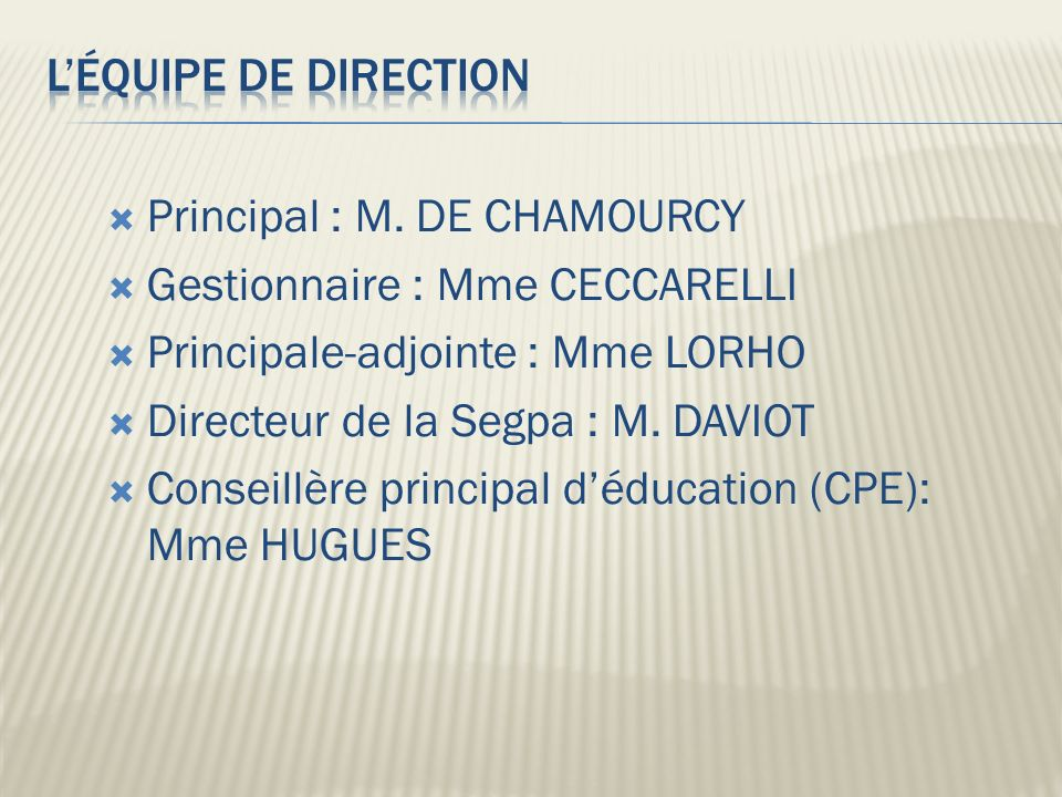Principal : M.