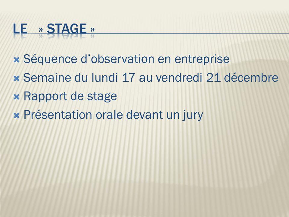 Séquence dobservation en entreprise Semaine du lundi 17 au vendredi 21 décembre Rapport de stage Présentation orale devant un jury