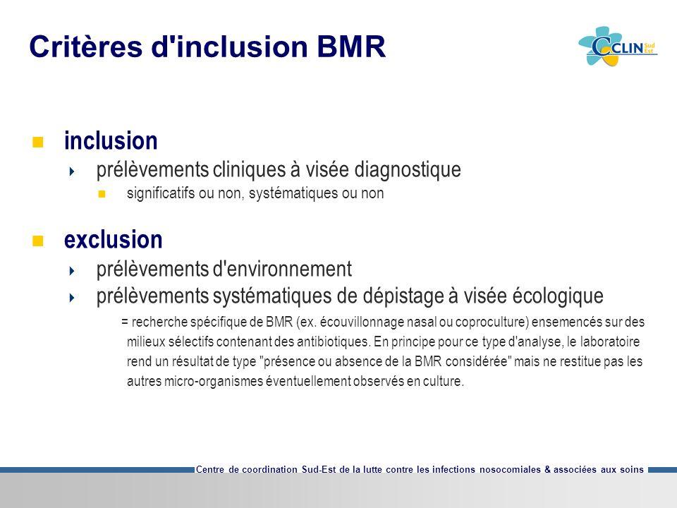 Centre de coordination Sud-Est de la lutte contre les infections nosocomiales & associées aux soins Critères d'inclusion BMR inclusion prélèvements cl