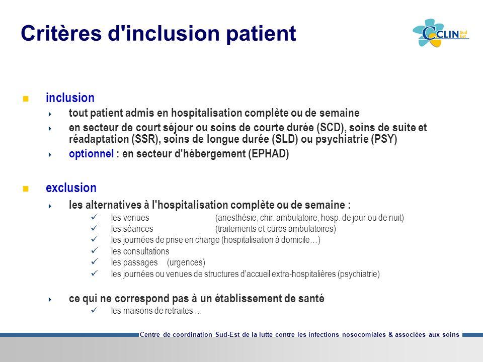 Centre de coordination Sud-Est de la lutte contre les infections nosocomiales & associées aux soins Critères d'inclusion patient inclusion tout patien