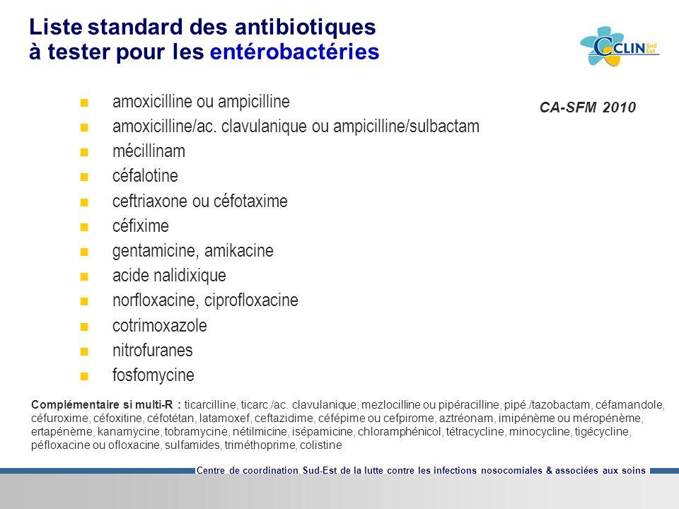 Centre de coordination Sud-Est de la lutte contre les infections nosocomiales & associées aux soins Liste standard des antibiotiques à tester pour les entérobactéries amoxicilline ou ampicilline amoxicilline/ac.