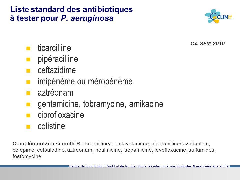 Centre de coordination Sud-Est de la lutte contre les infections nosocomiales & associées aux soins Liste standard des antibiotiques à tester pour P.