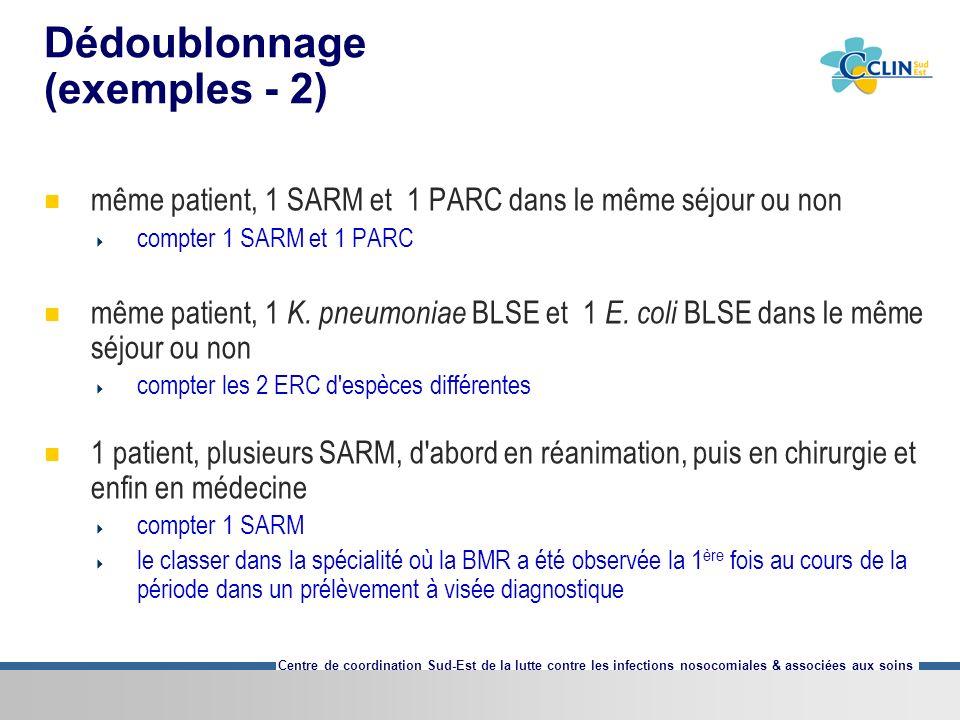 Centre de coordination Sud-Est de la lutte contre les infections nosocomiales & associées aux soins Dédoublonnage (exemples - 2) même patient, 1 SARM et 1 PARC dans le même séjour ou non compter 1 SARM et 1 PARC même patient, 1 K.