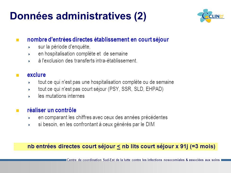 Centre de coordination Sud-Est de la lutte contre les infections nosocomiales & associées aux soins Données administratives (2) nombre d'entrées direc