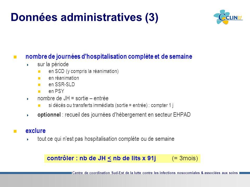 Centre de coordination Sud-Est de la lutte contre les infections nosocomiales & associées aux soins Données administratives (3) nombre de journées d'h