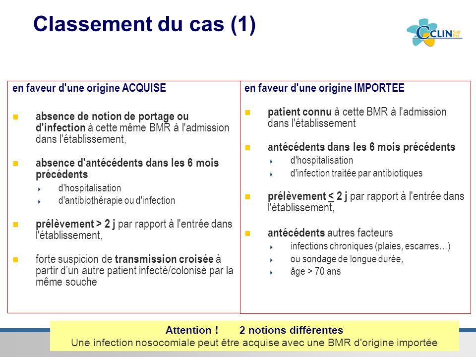 Centre de coordination Sud-Est de la lutte contre les infections nosocomiales & associées aux soins Classement du cas (1) en faveur d'une origine ACQU