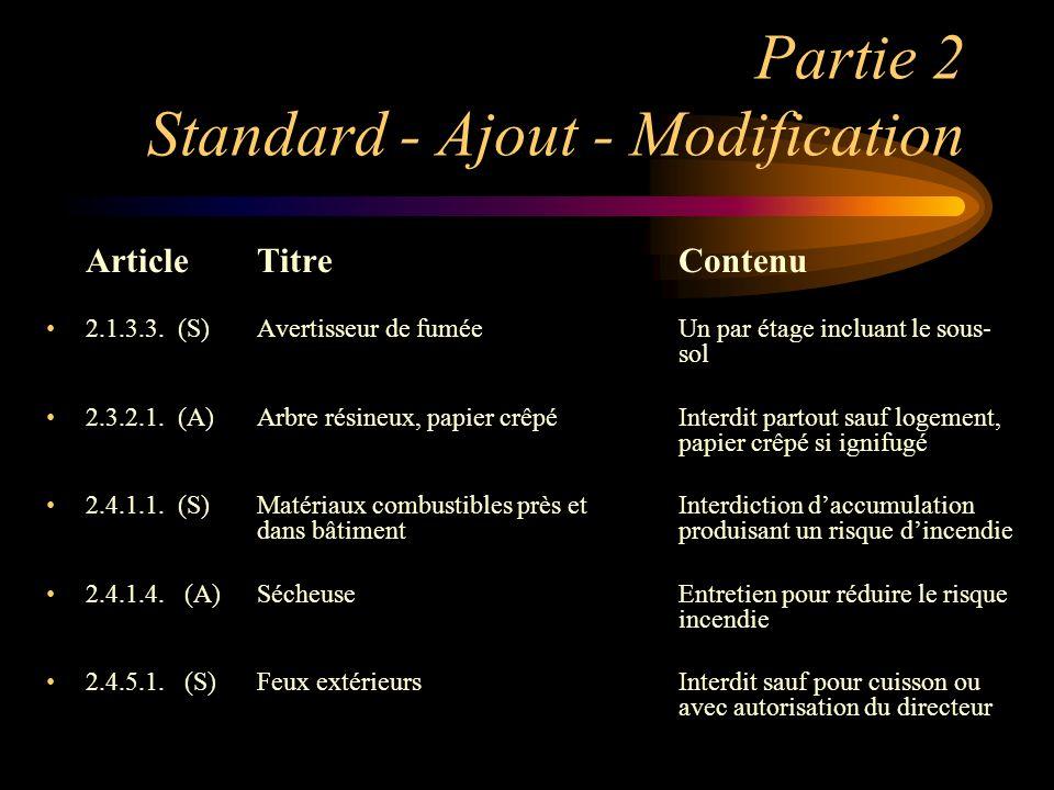 Partie 2 Standard - Ajout - Modification ArticleTitreContenu 2.1.3.3. (S)Avertisseur de fuméeUn par étage incluant le sous- sol 2.3.2.1. (A)Arbre rési