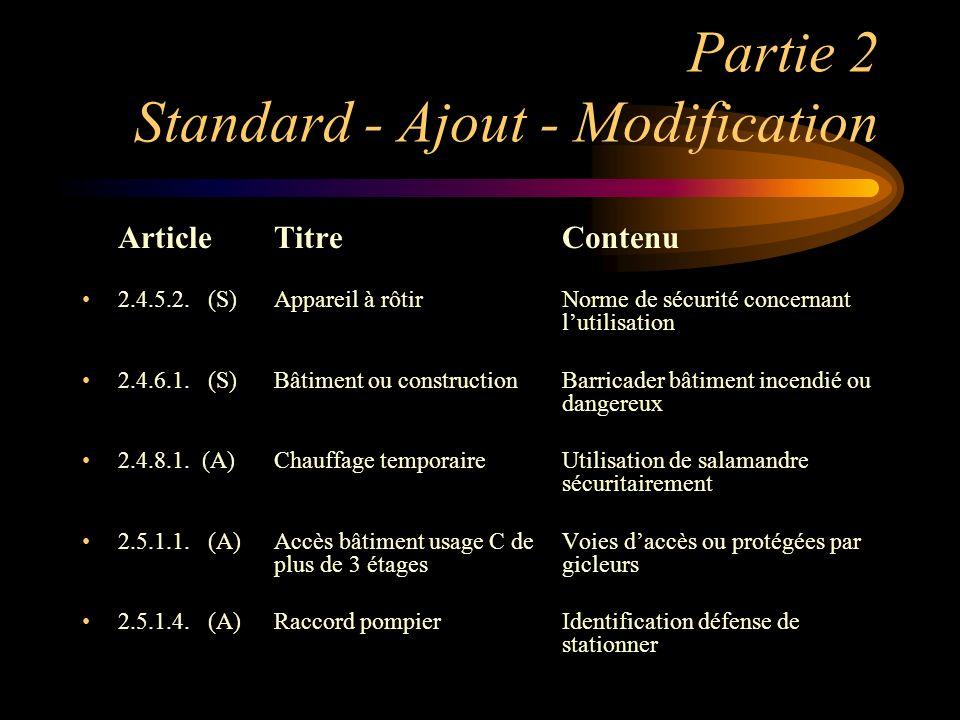 Partie 2 Standard - Ajout - Modification ArticleTitreContenu 2.4.5.2. (S)Appareil à rôtirNorme de sécurité concernant lutilisation 2.4.6.1. (S)Bâtimen