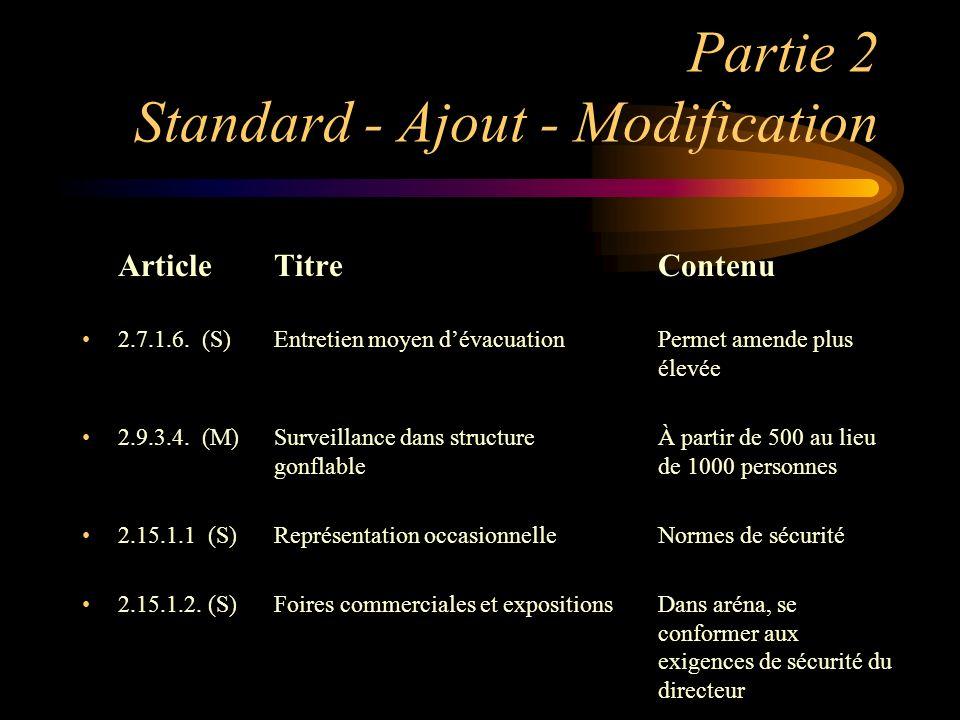 Partie 2 Standard - Ajout - Modification ArticleTitreContenu 2.7.1.6. (S) Entretien moyen dévacuationPermet amende plus élevée 2.9.3.4. (M)Surveillanc