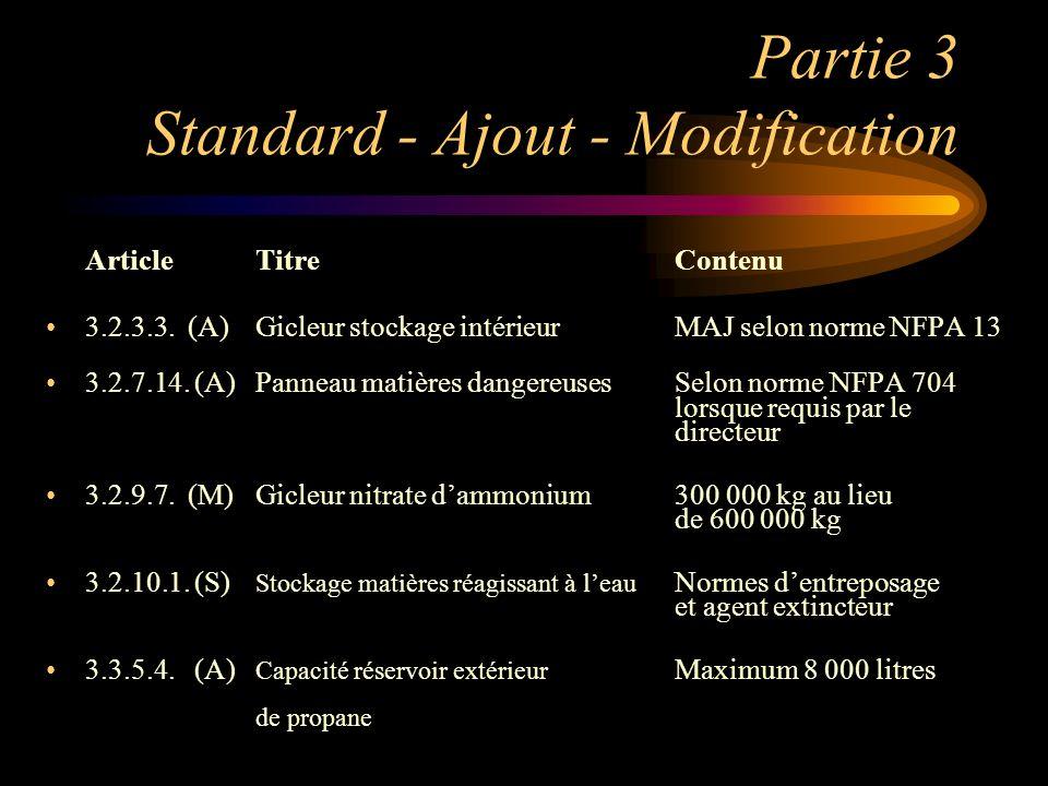 Partie 3 Standard - Ajout - Modification ArticleTitreContenu 3.2.3.3. (A)Gicleur stockage intérieurMAJ selon norme NFPA 13 3.2.7.14. (A)Panneau matièr