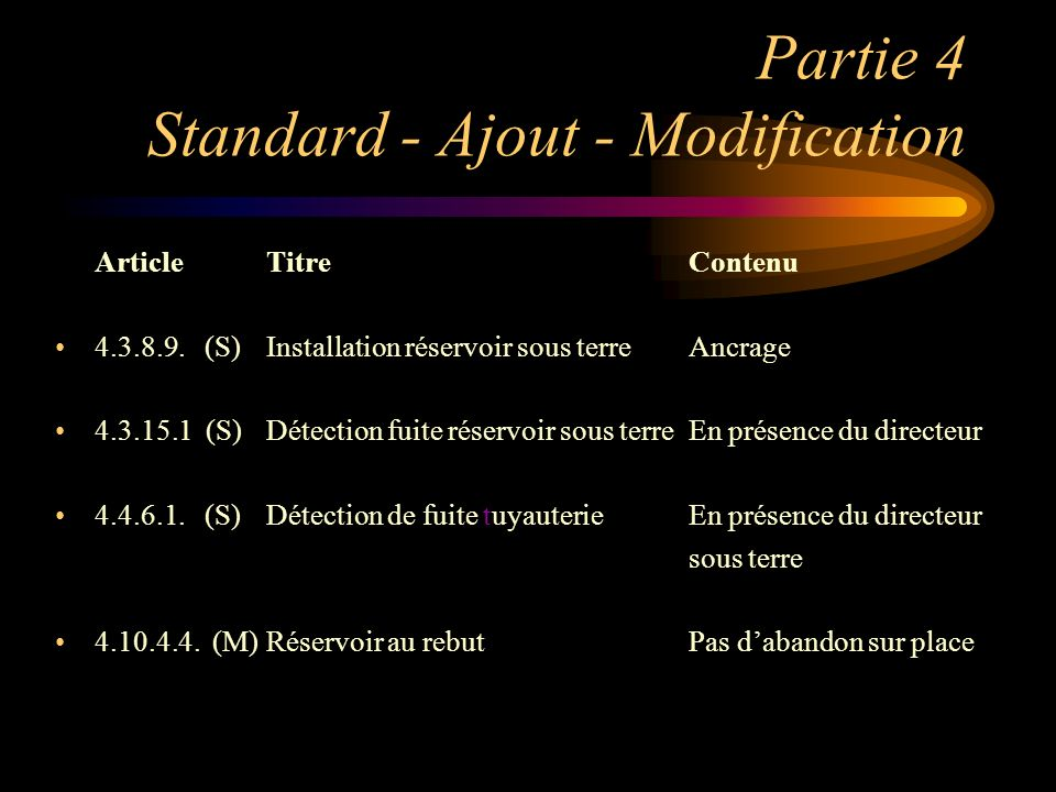 Partie 4 Standard - Ajout - Modification ArticleTitreContenu 4.3.8.9. (S)Installation réservoir sous terreAncrage 4.3.15.1 (S)Détection fuite réservoi
