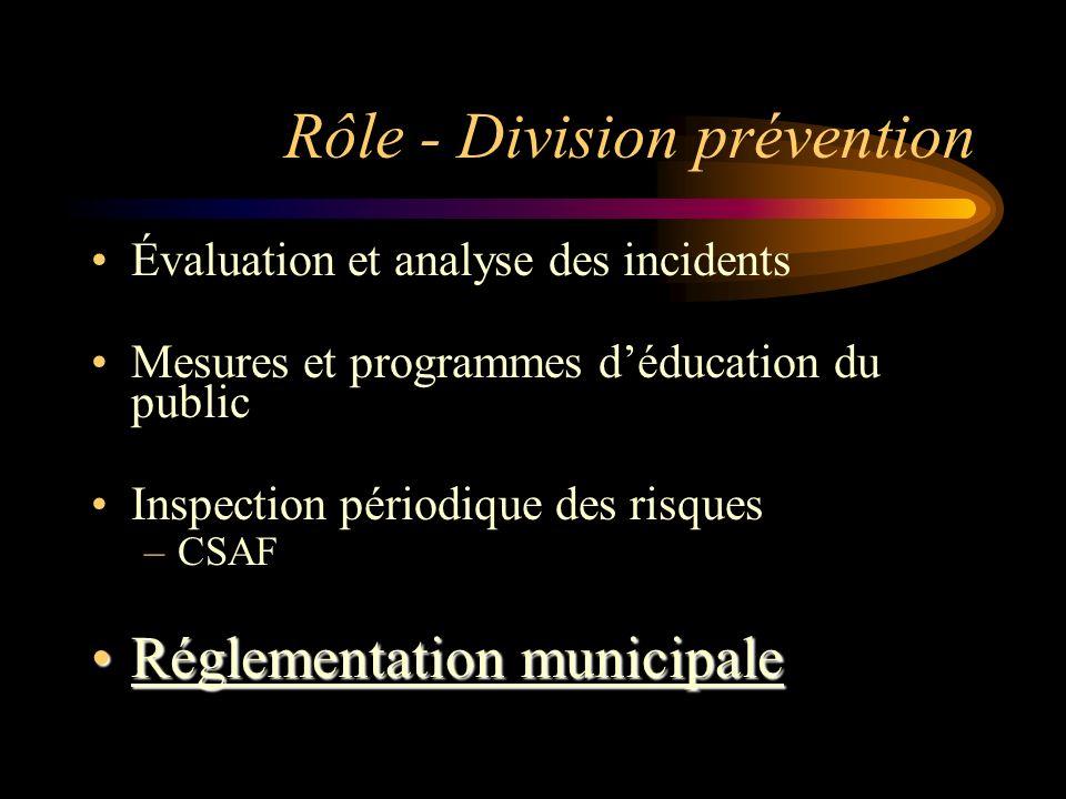 Rôle - Division prévention Évaluation et analyse des incidents Mesures et programmes déducation du public Inspection périodique des risques –CSAF Régl