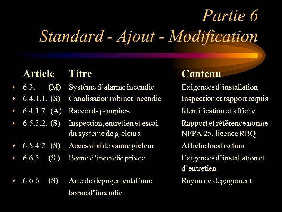 Partie 6 Standard - Ajout - Modification ArticleTitre Contenu 6.3. (M)Système dalarme incendieExigences dinstallation 6.4.1.1. (S)Canalisation robinet