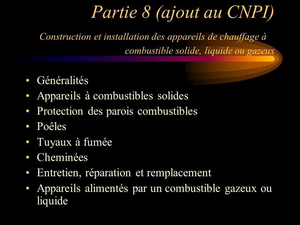 Partie 8 (ajout au CNPI) Construction et installation des appareils de chauffage à combustible solide, liquide ou gazeux Généralités Appareils à combu