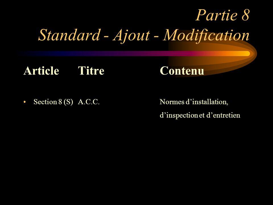 Partie 8 Standard - Ajout - Modification ArticleTitreContenu Section 8 (S)A.C.C.Normes dinstallation, dinspection et dentretien