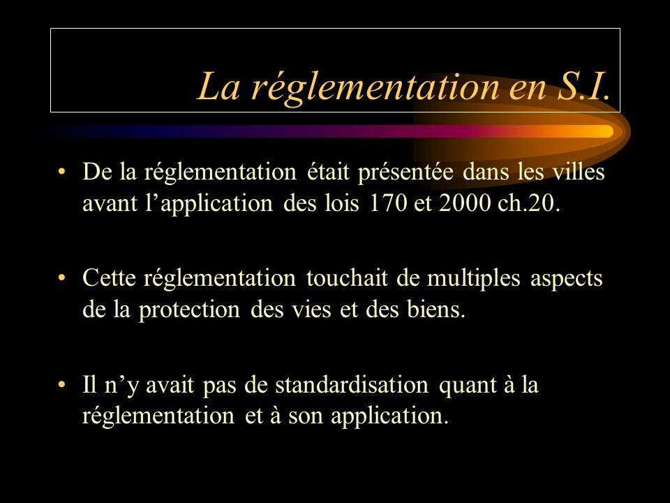 La réglementation en S.I. De la réglementation était présentée dans les villes avant lapplication des lois 170 et 2000 ch.20. Cette réglementation tou