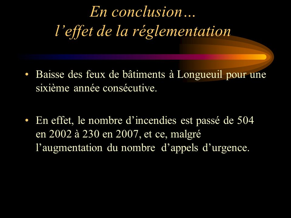 Baisse des feux de bâtiments à Longueuil pour une sixième année consécutive. En effet, le nombre dincendies est passé de 504 en 2002 à 230 en 2007, et