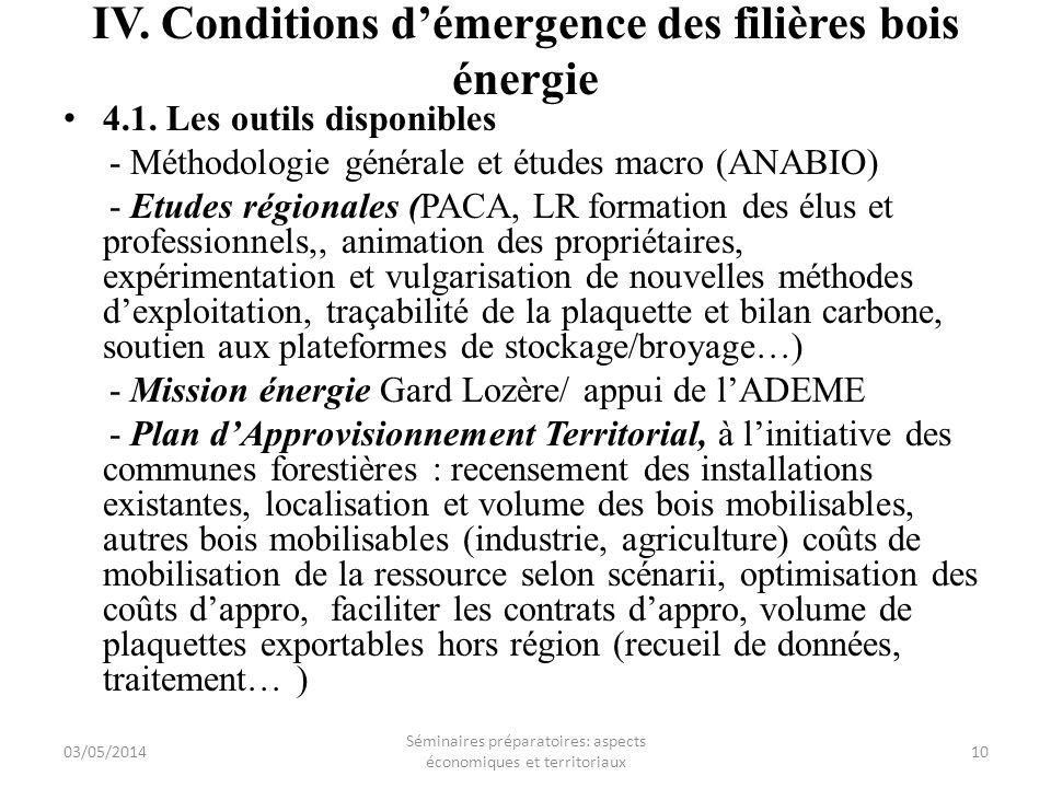 IV. Conditions démergence des filières bois énergie 4.1. Les outils disponibles - Méthodologie générale et études macro (ANABIO) - Etudes régionales (