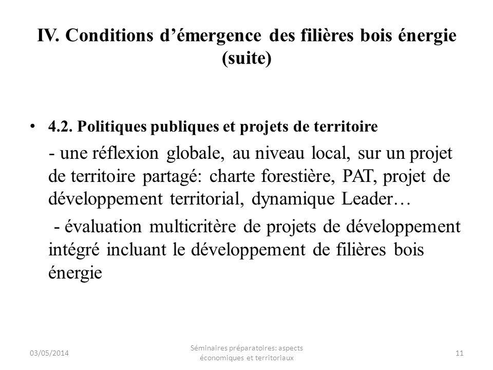 IV. Conditions démergence des filières bois énergie (suite) 4.2. Politiques publiques et projets de territoire - une réflexion globale, au niveau loca